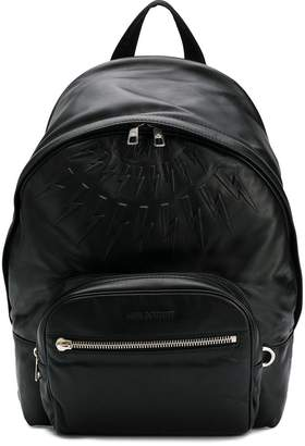 Neil Barrett Fair-isle thunderbolt embossed backpack