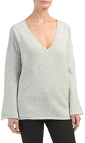 Juniors V-neck Bell Sleeve Sweater