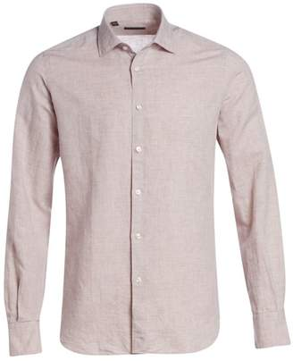 Saks Fifth Avenue Long Sleeve Linen Check Boucle Shirt