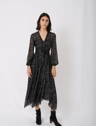 Maje Belted muslin dress with scarf print