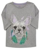 F&F Pug Print 3/4 Length Sleeve T-Shirt, Girl's
