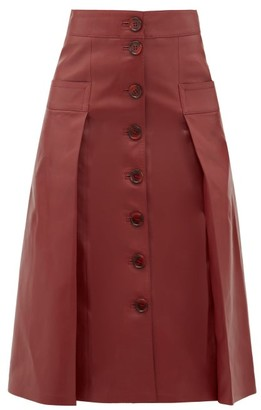 Dodo Bar Or Galina Button-through Leather Skirt - Womens - Burgundy