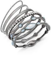 INC International Concepts I.n.c. Hematite-Tone 6-Pc. Set Stone and Crystal Bangle Bracelets, Created for Macy's