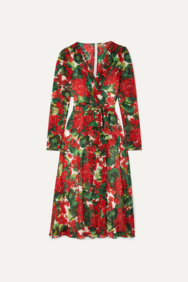 Dolce & Gabbana Floral-print Stretch-silk Chiffon Wrap Dress - Red