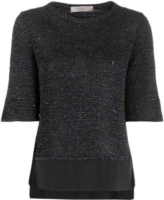 D-Exterior Sequin-Embellished Knitted Top