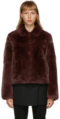 Yves Salomon Meteo Yves Salomon - Meteo Burgundy Fur Crop Jacket