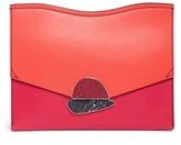 Proenza Schouler 'Curl' medium colourblock leather flap clutch