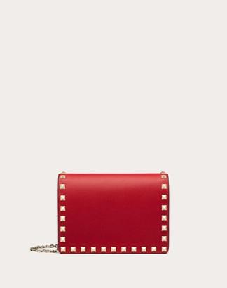 Valentino Rockstud Calfskin Chain Pouch Women Rouge Pur Calfskin 100% OneSize