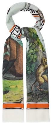 Burberry Monkey-print Cashmere Scarf - Womens - Multi