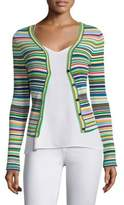Milly Rib-Knit Striped Cardigan