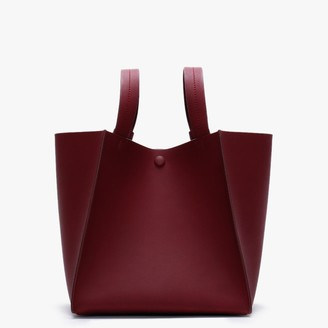 Sophie Hulme Cube Burgundy Leather Shoulder Bag
