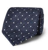 Drakes Drake's - 8cm Polka-Dot Herringbone Silk and Linen-Blend Tie