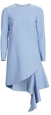 Oscar de la Renta Women's Jewelneck Short Asymmetric Dress