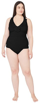 Lauren Ralph Lauren Plus Size Beach Club Solids Underwire Tankini (Black) Women's Swimwear