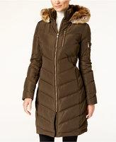 Calvin Klein Faux-Fur-Trim Chevron Water-Resistant Puffer Coat