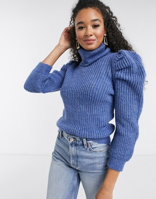 New Look roll neck puff sleeve sweater in mid blue
