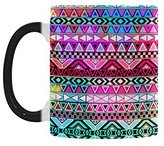 Hipster Novelty Mugs Purple Pink Neon Aztec Aztec Tribal Pattern Color Changing Mug Morphing Coffee Mugs Cup - 11oz sizes