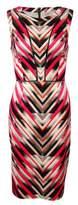 Vince Camuto Women's Chevron Print Mesh-Inset Scuba Dress (6, Pink)