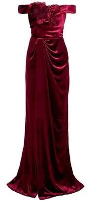 Marchesa Off-the-shoulder Floral-appliqued Velvet Gown