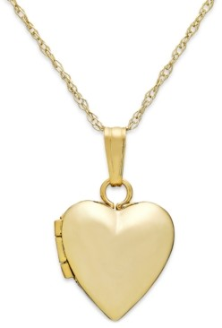 "Macy's Children's Heart 13"" Locket Necklace in 14k Gold"