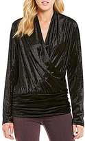 Moa Moa Crushed Velvet Long-Sleeve Surplice Keyhole Back Top