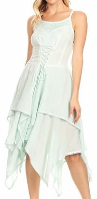 Sakkas 9031 Lady Mary Jacquard Bodice Handkerchief Hem Dress - Seafoam - One Size