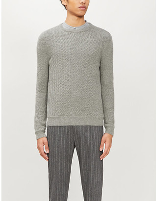 Ralph Lauren Purple Label Geometric-weave crewneck cashmere jumper