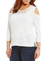 Democracy Plus Cold-Shoulder 3/4 Sleeve Yoke Neck Pintuck Top