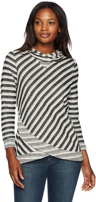 Ruby Rd. Women's Subtle Tones French Terry Stripe Pullover with Hood