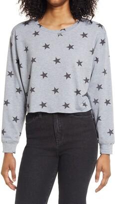 La La Land Creative Co Stars Print Boxy Crop Sweatshirt