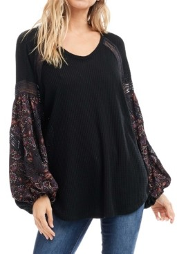 Fever Long Sleeve Printed Waffle V-Neck Top