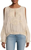 Haute Hippie Penny Cold-Shoulder Embroidered Chiffon Top