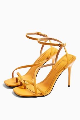 Topshop Womens Rise Orange Strappy Heels - Burnt Orange