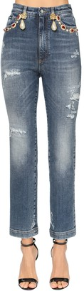 Dolce & Gabbana Jewel Embellished Cotton Denim Jeans