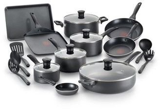 T-Fal Easy Care Thermo-Spot 20 Piece Non-Stick Dishwasher Safe Cookware Set, Gray
