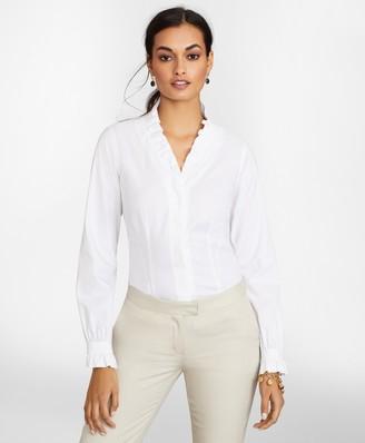 Brooks Brothers Petite Non-Iron Stretch Supima Cotton Ruffle Pinpoint Oxford Dress Shirt