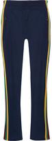 Etoile Isabel Marant Dobbs Cropped Striped Stretch-knit Straight-leg Pants - Midnight blue