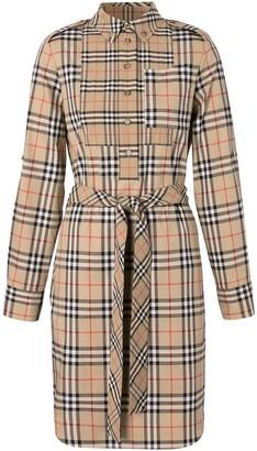 Burberry Logo Applique Check Tie-Waist Shirt Dress
