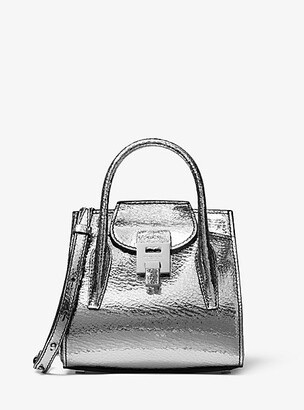 Michael Kors Bancroft Mini Crackled Metallic Leather Satchel