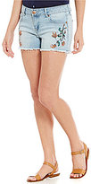 Celebrity Pink Destructed Embroidered Frayed Hem Denim Shorts