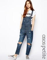 ASOS PETITE Dark Wash Denim Dungarees With Busted Knee