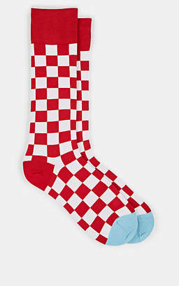 Paul Smith Men's Checkerboard-Print Cotton-Blend Mid-Calf Socks - Red
