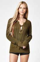 Say What Ribbed Lace-Up Sweater