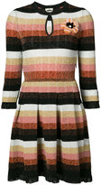 Fendi knitted dress with flower brooch - women - Nylon/Polyester/Wool - 38