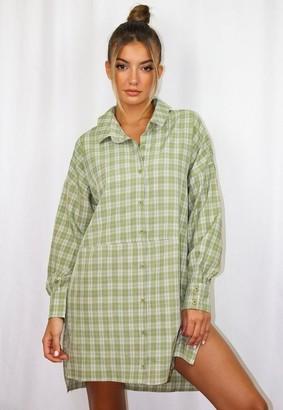 Missguided Sage Plaid Oversized Dip Back Shirt Dress