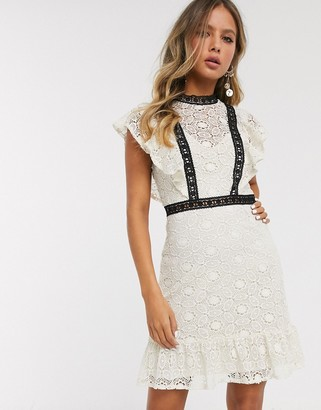 Little Mistress lace mini dress with contrast detail in cream