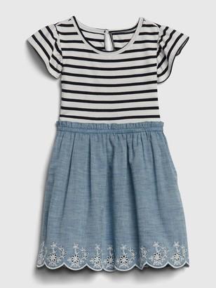 Gap Toddler Stripe Chambray Mix-Media Dress