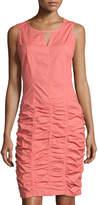 XCVI Ellie Poplin Ruched Dress, Coral