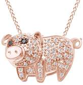 Jewel Zone US Enhanced Black and White Natural Diamond Pig Pendant in 14K Solid Rose Gold (1/5 cttw)