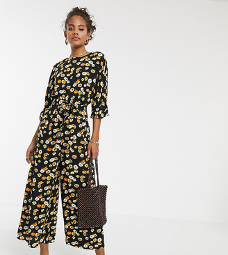Asos Tall ASOS DESIGN Tall tie waist jumpsuit in yellow ditsy floral print